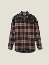 Camisa De Cuadros Y Bordados Wéstern : Tops & Camisas color Camel/noir
