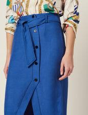 Falda Hasta La Rodilla Con Cinturón : null color Azul