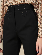 Pantalón con cinturón con tachuelas : Pantalones color Negro