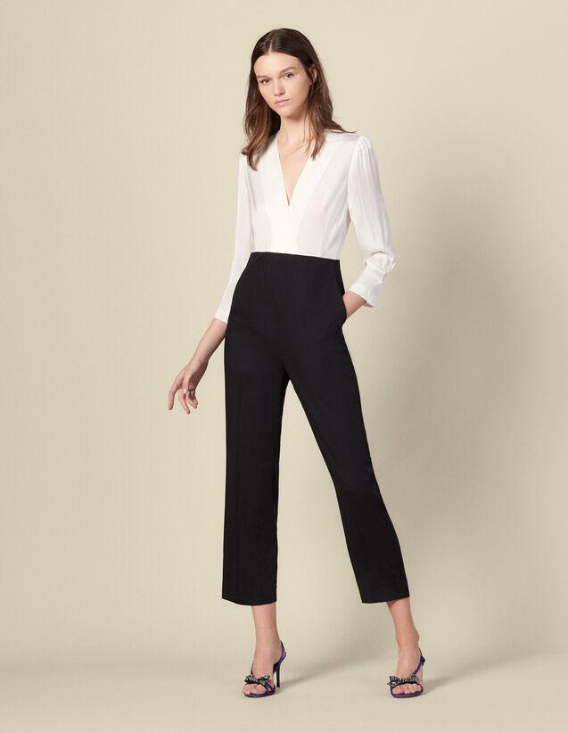Mono de pantalón de dos materiales : Monos color Ecru/Noir