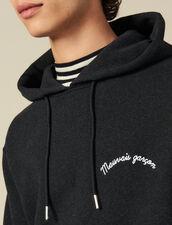 Hoodie Con Bordado Con Mensaje : Colección de invierno color Gris Moteado Oscuro