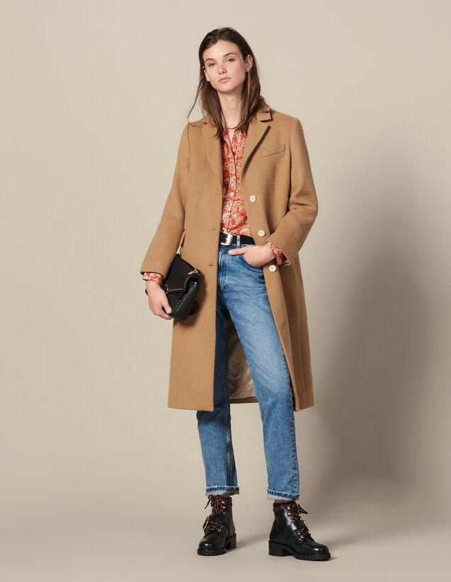 Abrigo largo de paño de lana ajustado : Abrigos color Beige
