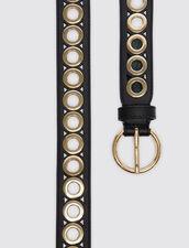 Cinturón, hebilla redonda y ojales : Lo mejor de la temporada color Negro