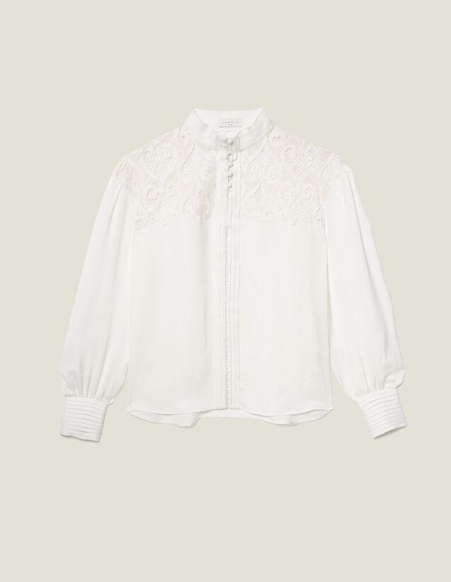 Blusa adornada con un inserto de guipur : FBlackFriday-FR-FSelection-30 color Crudo