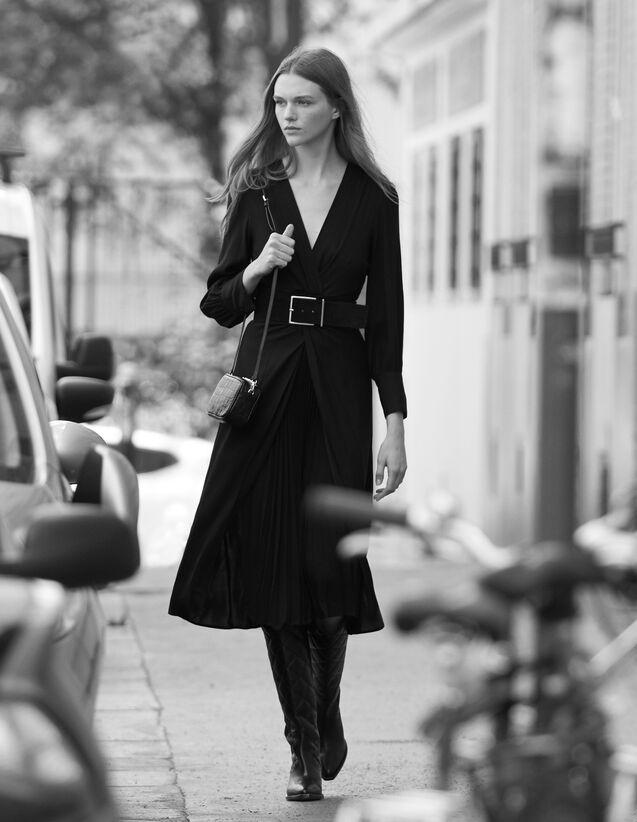 Vestido largo drapeado : Vestidos color Negro