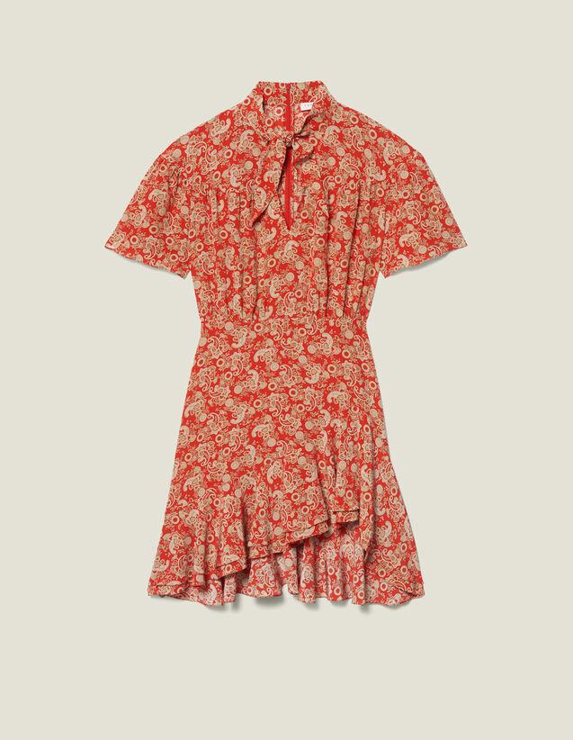 Vestido estampado de manga corta : FBlackFriday-FR-FSelection-30 color Rojo