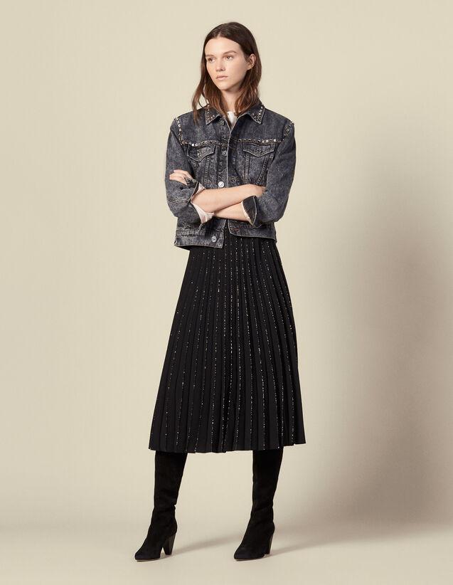 Falda plisada con acabado de lentejuelas : Faldas & Shorts color Negro