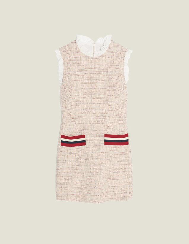 Vestido Corto Y Recto De Tweed : null color Rosa