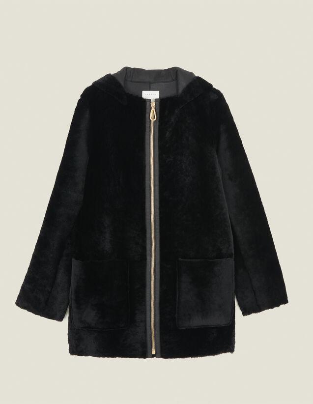 Abrigo de piel lanuda con tira de piel : Abrigos color Negro