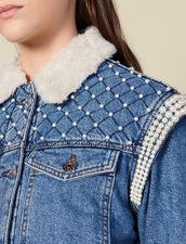 Chaqueta vaquera adornada con perlas : Cazadoras & Chaquetas color Bleu jean