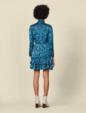 Vestido, cuello alto, volantes estampado : Vestidos color Azul
