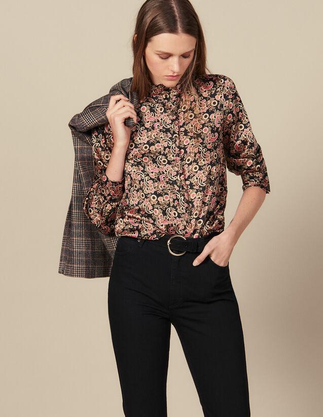 Camisa, Cuello Alto Bordado Con Volantes : -40% color Negro