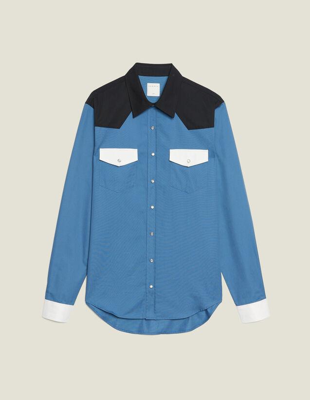 Camisa Wéstern Con Bloques De Colores : Sélection Last Chance color Azul