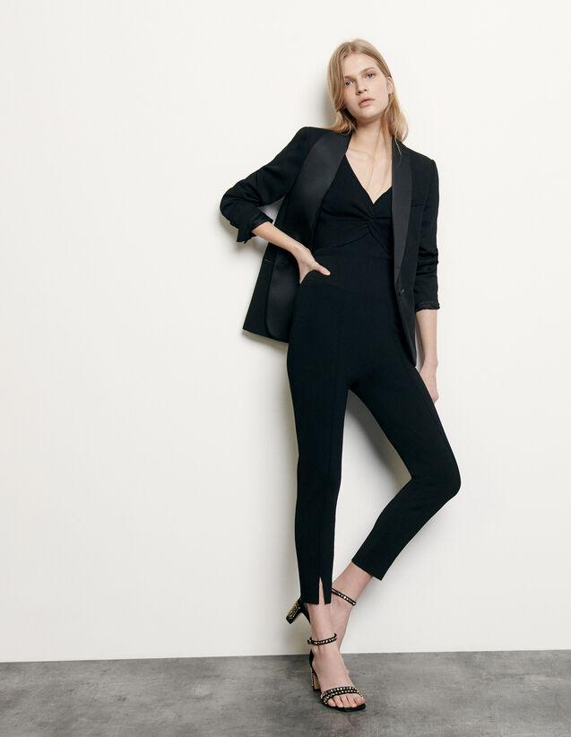 Legging de punto con pequeñas aberturas : Pantalones color Negro