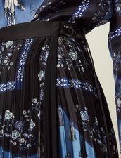 Falda Larga Cruzada Con Plisado Soleil : null color Azul