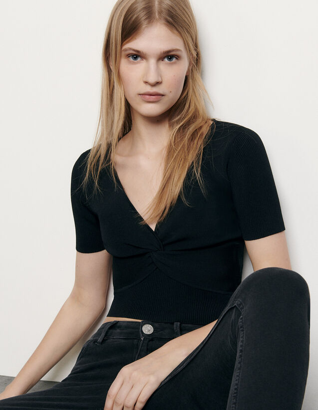 Top corto de punto de canalé : Tops & Camisas color Negro