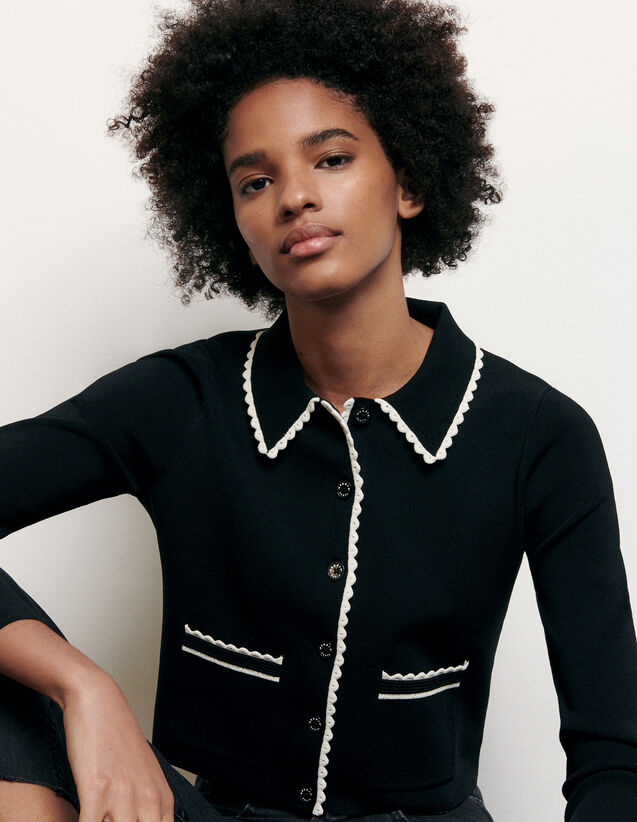 Cárdigan corto con cuello camisero : Nueva Colección de Verano color Negro