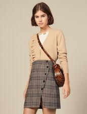 Falda Cruzada De Cuadros Con Abertura : Faldas & Shorts color Camel