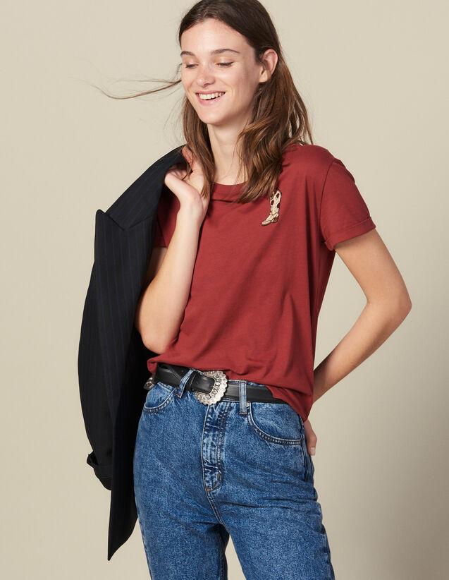 Camiseta Con Parche Bordado : Camisetas color Burdeos