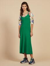 Vestido Largo De Punto Con Tirantes : null color Verde