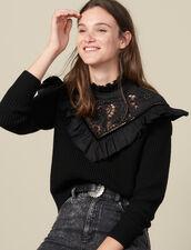 Jersey con pechera con bordado inglés : Jerseys & Cárdigans color Negro