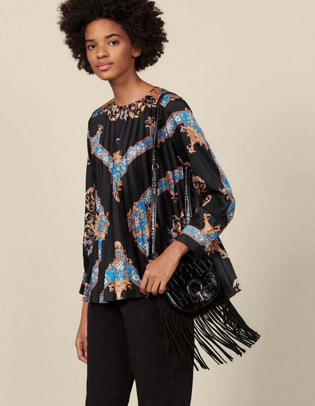 Top fluido plisado con estampado : Tops & Camisas color Negro