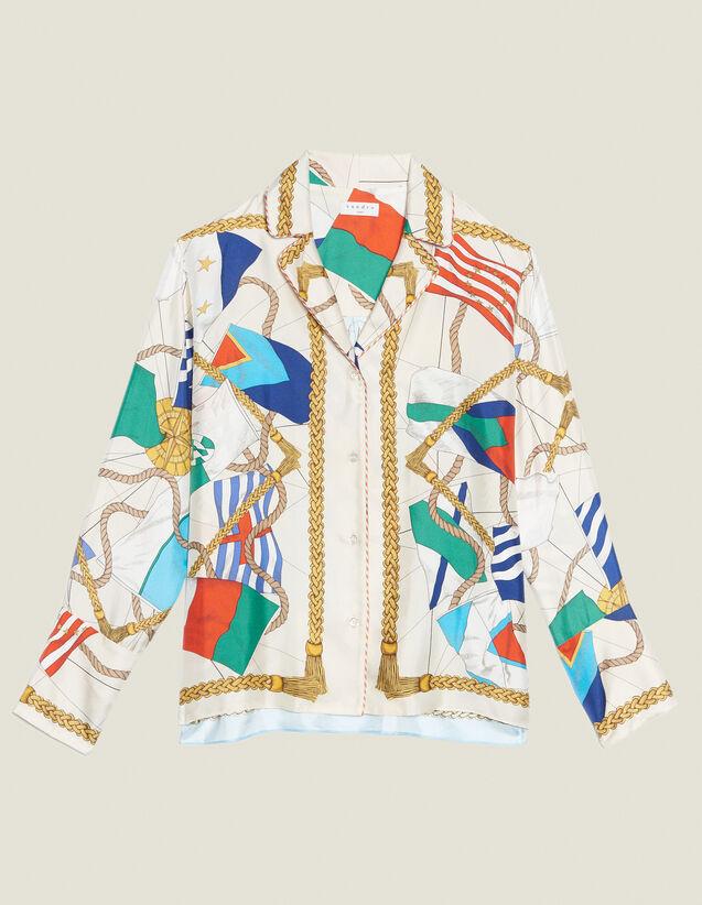 Camisa Estampada Tipo Pijama : Camisa estampada color Crudo