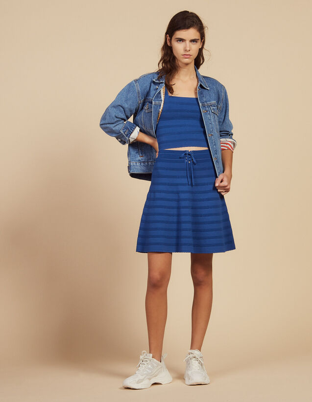 Falda Corta Evasé De Punto : Faldas & Shorts color Bleu jean