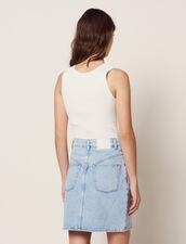 Falda Corta Vaquera Con Pespuntes : Faldas & Shorts color Blue Vintage - Denim