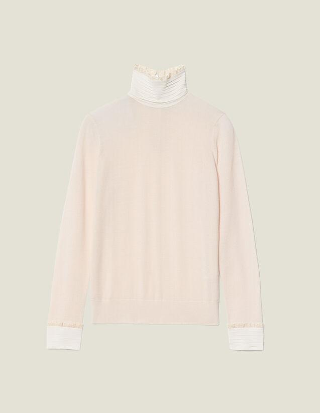 Jersey De Cuello Alto Con Seda Plisada : FBlackFriday-FR-FSelection-Pulls&Cardigans color Nude