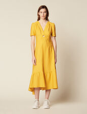 Vestido Largo Con Anilla Forrada : null color Amarillo