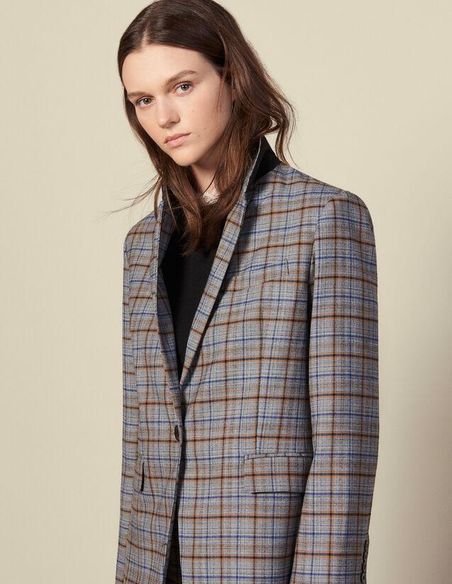 Blazer de cuadros de lana : Cazadoras & Chaquetas color Gris
