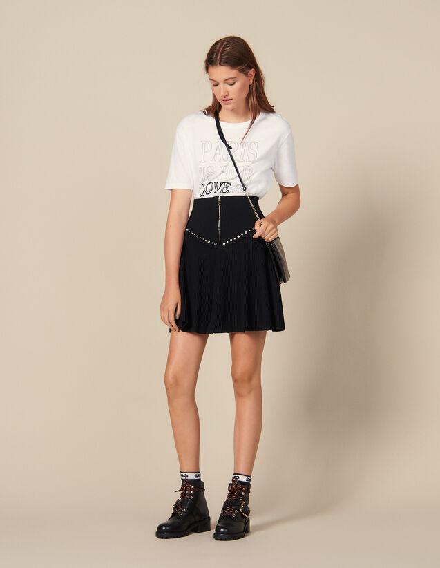 Falda De Punto Evasé Con Cremallera : Faldas & Shorts color Negro