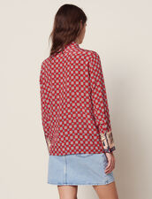 Camisa Estampada De Seda : null color Rojo
