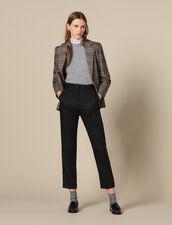 Pantalón ajustado con plisado acanalado : -50% color Negro