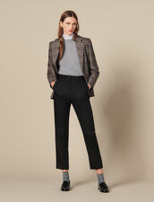 Pantalón ajustado con plisado acanalado : FBlackFriday-FR-FSelection-Pantalons&Jeans color Negro