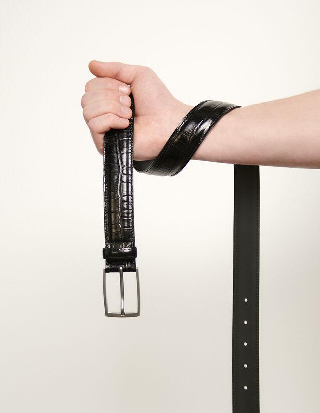 Cinturón de piel repujado : Cinturones color Negro