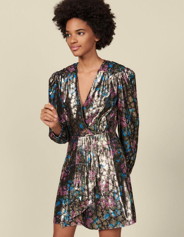 Vestido corto de jacquard de lúrex : Vestidos color Multicolor