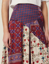 Falda Larga De Patchwork De Estampados : LastChance-FR-FSelection color Burdeos