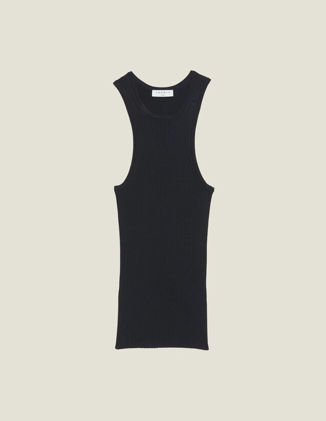 Top De Punto De Canalé Sin Mangas : Tops & Camisas color Negro