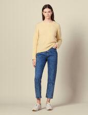 Jersey de cuello redondo con estrás : Jerseys & Cárdigans color Amarillo