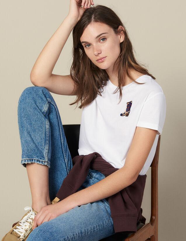 Camiseta Con Parche Bordado : Camisetas color Blanco