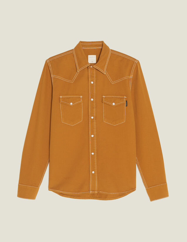Camisa De Tela De Algodón : Camisas color Ocre