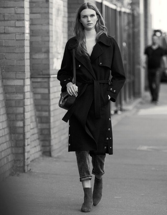 Gabardina De Doble Cara De Lana : Abrigos color Negro