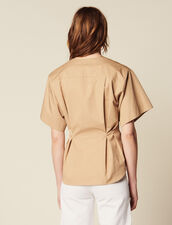 Camisa De Algodón De Manga Corta : Tops & Camisas color Beige