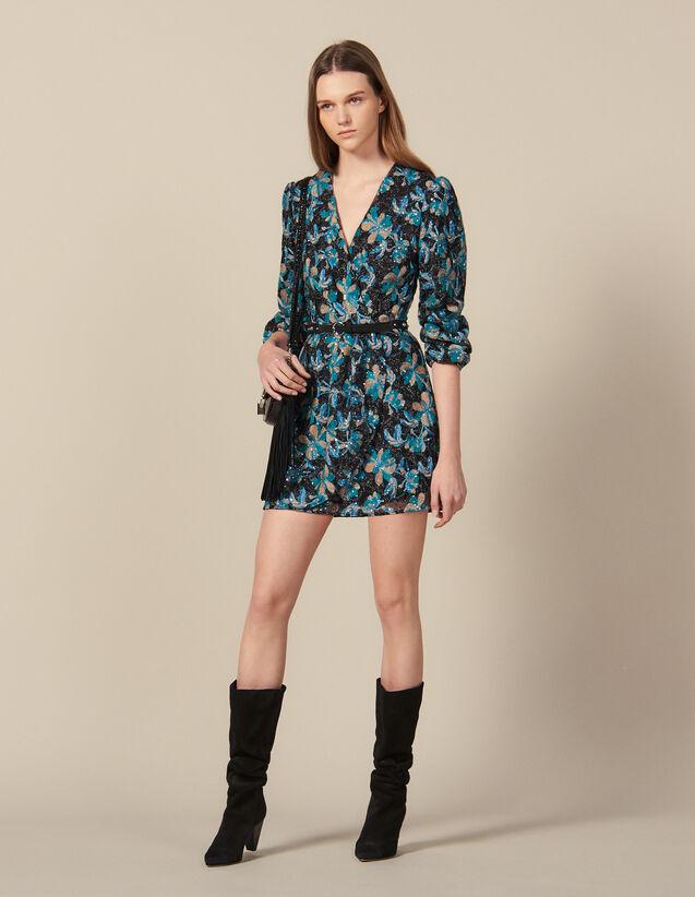 Vestido de tul bordado de lentejuelas : Lo mejor de la temporada color Noir/turquoise