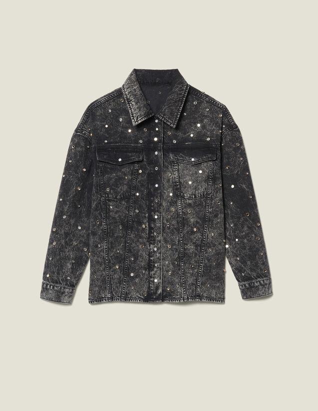 Camisa Vaquera Adornada Con Tachuelas : Tops & Camisas color Negro