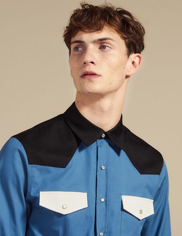 Camisa Wéstern Con Bloques De Colores : Camisas color Azul