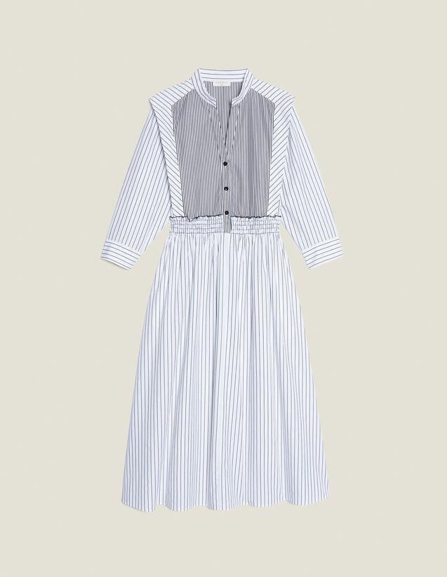 Vestido Midi De Rayas De Algodón : null color Blanco