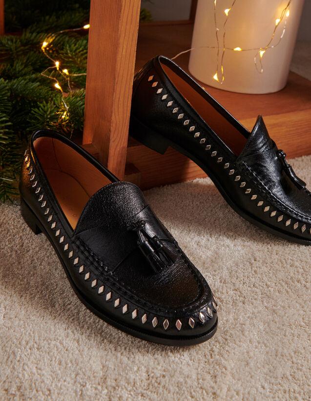 Mocasines de piel arrugada con pompones : Todos Zapatos color Negro